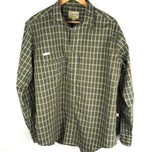 CABELAS olive green plaid button down shirt L